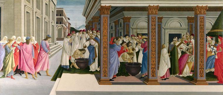 Battesimo ed elezione a vescovo di san Zanobi / Baptism of St. Zenobius (1500-1505, Londra, National Gallery)
