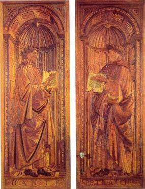Giuliano da Maiano e Francesco di Giovanni detto il Francione, su disegno di Sandro Botticelli, Dante e Petrarca (1476-1480, Firenze, Sala dei Gigli, Palazzo Vecchio)