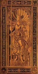 Pallade, Tarsia di Baccio Pontelli su disegno di Sandro Botticelli (1479-82, Urbino, Palazzo Ducale)